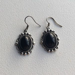 Jewelry - Silver and black deco style dangle earrings
